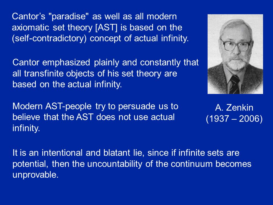 Cantor's paradise as well as all modern axiomatic set theory [AST] is based on the (self-contradictory) concept of actual infinity.